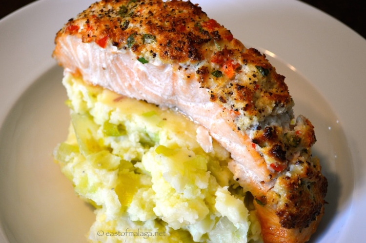 Salmon with a zingy coconut and coriander crust
