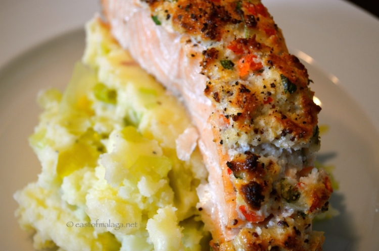 Salmon fillet with a zingy coconut and coriander crust