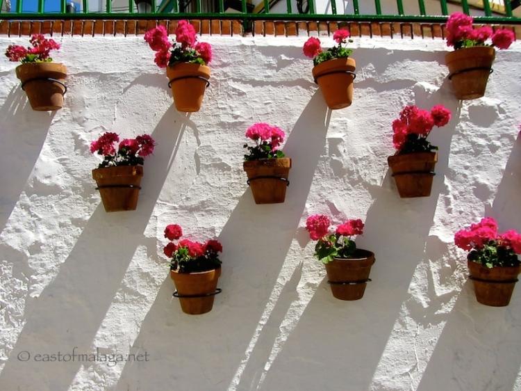 Flower-filled pots in Torrox, Spain