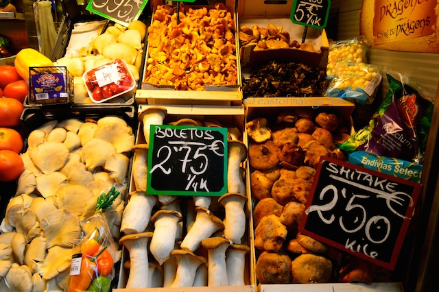 Wild mushrooms for sale in Atarazanas market, Malaga