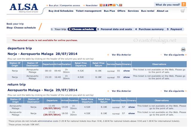 Bus timetable Nerja - Malaga airport