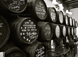 Barrels signed by celebrity visitors, inside Bodega Bar El Pimpi, Malaga