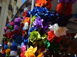 Colourful stall at Malaga feria