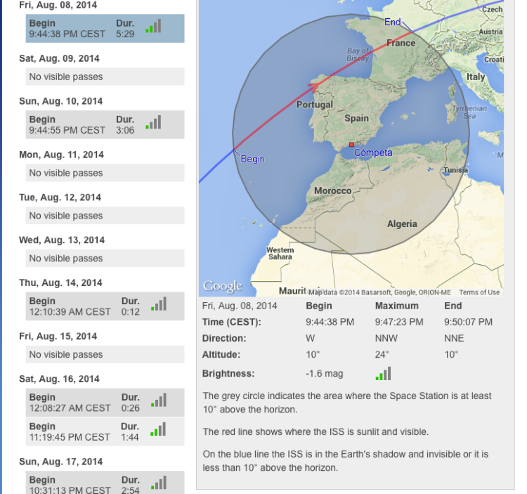 ISS visible pass over Spain