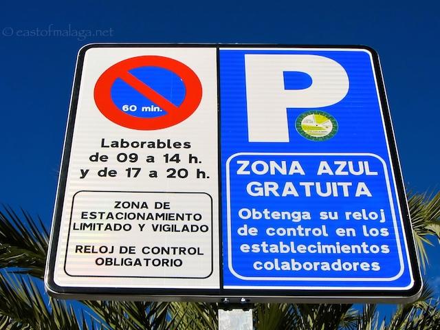 Blue parking zones in Torrox
