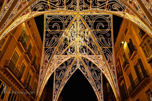 Detail of Malaga's gothic Christmas lights  2014