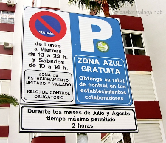 Blue Zone parking signs at Torrox Costa