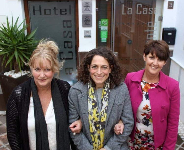Hotel Inspector, Alex Polizzi with Karen and Sarah outside Hotel La Casa