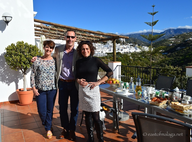 Alex, Sarah and travel writer Andrew Forbes on the terrace at La Casa Hotel