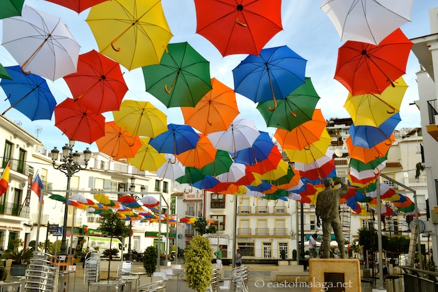 Multi-coloured umbrellas in Torrox pueblo, Andalucia, Spain