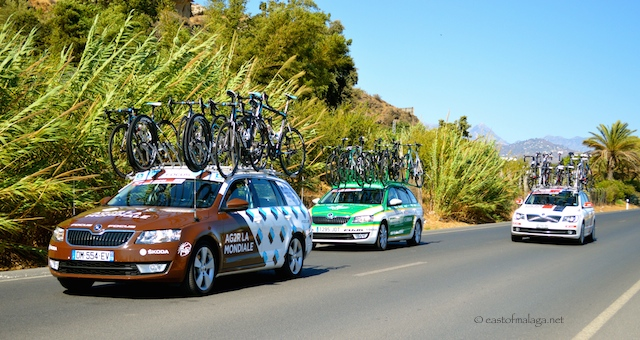 The support vehicles follow closely behind