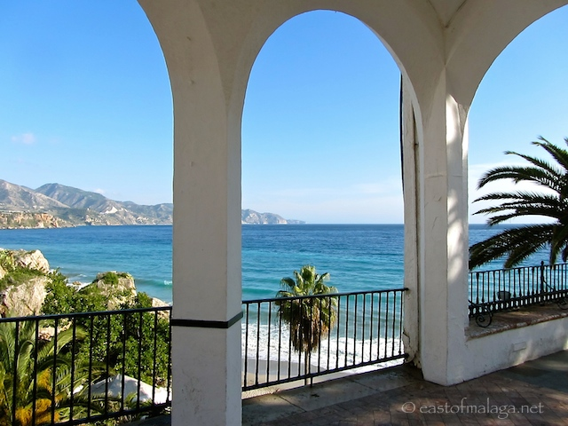 Looking through the arches on the Balcon de Europa, Nerja