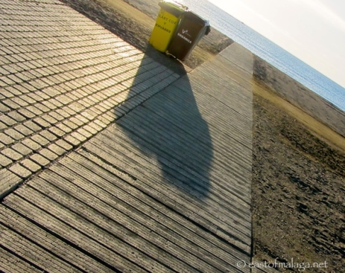 Concrete path to water's edge in Torre del Mar, Spain