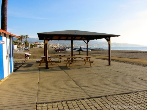 Shaded picnic area and changing facilities, Torre del Mar, Spain